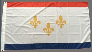 NEW ORLEANS CITY Louisiana State Flags Banner 3X5FT 150x90cm Hanging Pubblicità dello schermo Uso di stampa, trasporto libero