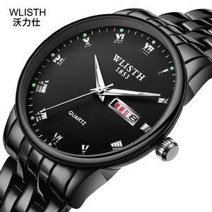 2019 Top Marke Frauen Stahl Gürtel Quarzuhr Business Männliche Leuchtende Wasserdichte Frische Einfache Doppel Kalender Weibliche Uhr