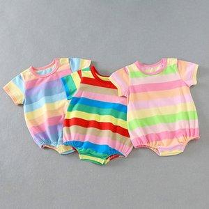 Летняя Одежда Для Новорожденных Baby Girl Boy Rompers Rainbow Stripe Комбинезон Наряды Комбинезоны