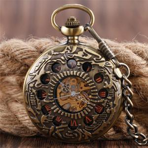 Retro antiguo reloj esqueleto hueco círculo mano viento reloj de bolsillo mecánico hombres mujeres FOB colgante relojes con cadena