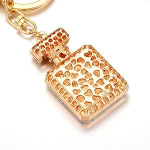 Moda Frasco de perfume encantos Acessórios Key Ring 3 Cores Rhinestone cristal garrafa de perfume ornamentos Presente de Keychain Keyring