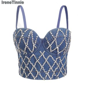 Irene Tinnie Sexy Charming Denim Jeans Diamonds Women's Bustier Bra Night Club Party Cropped Top Vest Plus Size Y200701