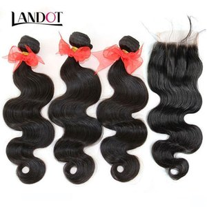 Brazilian Body Wave Virgin Hair Weave With Closure 8A Grade 3 Bundles Unprocessed Brazilian Human Hair Weave Add Lace Closures Natural hairs