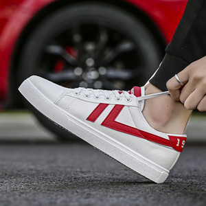 Drop Shipping Men Women Casual Shoes Unisex Fashion Canvas Shoes Red White Black Walking Outdoor Flat Shoes size 36-44