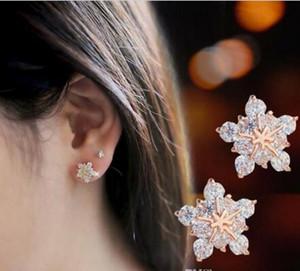 Mode Neige Zircon Oreille ongles Femme Mode prunier Cristal Boucles d'oreilles 20pcs / lot W894