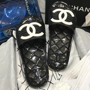 Limpar geléia 5p sapatas do desenhador de pvc mulas sandálias das mulheres de luxo Transparente 5p Glossy deslizamento Piscina mulas Slides Lady borracha no Sandals Slipper