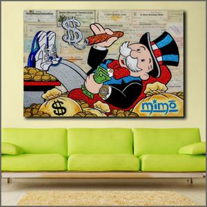 Wlong Большого размера картины масла Монополия 2 Graffiti Wall Art Picture Home Decor Гостиного Современный Холст печать Картина SH190919