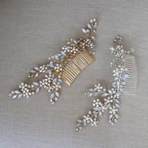 Dower Me Charme Headpiece De Cristal De Opala Para As Mulheres de Ouro E Cor De Prata Cabelo De Noiva Pente Acessórios Do Casamento Feitos À Mão Y19051302