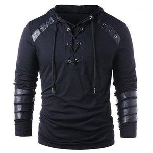 PU Panelled Menshoodies-beiläufige Männer Kleidung Bind Panelled Herren Designer Hoodies Art und Weise lose Solid Color