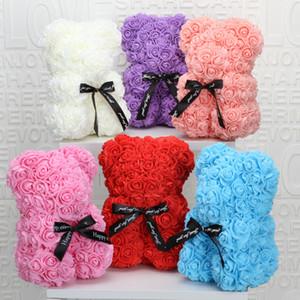 10 زهور اصطناعية بوصة PE البلاستيكية الحزب يوم روز الدب متعدد الألوان رغوة روز زهرة تيدي بير هدية عيد الحب عيد ميلاد الربيع الديكور