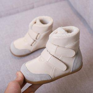 enfant en cuir véritable antidérapant bottes de neige femme bottes de neige enfant mâle moyen jambe enfant semelle extérieure souple en coton rembourré