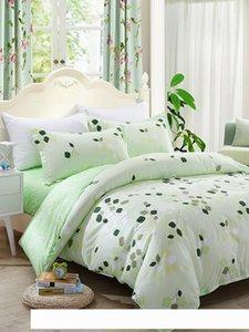A 4 Pcs Bedsheet Set Fresh Green Leaves Pattern Sanding Soft Cozy Bedding Set