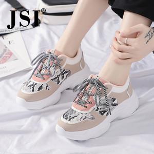 JSI Moda Mulheres Sneakers Chunky Platform Cobra Imprimir Rodada Toe Lace-Up Patchwork Air Mesh Casual Flats Mulheres Sneakers JX53 S20326