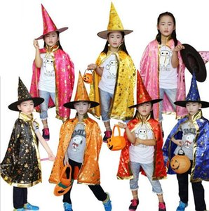 Children Cosplay Costumes Stars Style Halloween Witch Ghost Costume Cosplay Cape Cloak Costume 2pcs set=Hat+Cloak