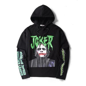 Hi-steet Men False Tow Piece Black Hoodies Joker Clown Hoodies Fashion Loose and Comfortable Cotton Warm Sweatshirt Streetwear