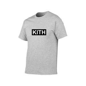 Летняя мода бегущий мужские футболки KITH Мода буквы печатанные TEE прохладные с короткими рукавами экипажа шеи тройники мужчины женщины топы