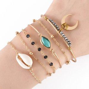 ALYXUY 6 pièces / Set Yeux Boho Shell Lune Noire Perles Chaînette Ajustable Set Bracelet en or Bijoux Bracelets Party Femmes Mode