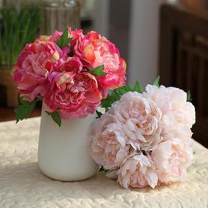 5 chefs / bouquet Grand artificielle Pivoine Bouquet Feuilles Real Touch Fleurs en soie Faux bouquet pour le mariage Décoration