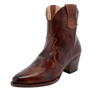 MoneRffi Высокое качество Vintage Женщины Boots Низкие каблуки Пряжки Cowboy Mid-теленок сапоги Мода Повседневная Платформа Ботинес Mujer 2019