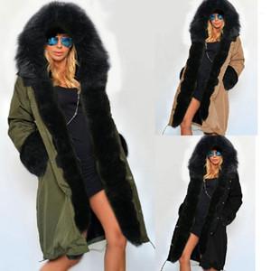 Casual Ropa del diseñador para mujer de foso del invierno abrigos con capucha Estilo de la manga larga femenina ropa de moda de color sólido