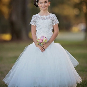 4-14 Years Mermaid Flower Girl Dress for Wedding Lace Tulle Floor Length Kids Formal Wear 2020 Cute Little Girl Party Dresses