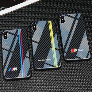 Envio TPU livre + vidro temperado Caso VW Golf BMW telefone para iphone 11 pro X XS Max 6 6s 7 8 mais casos de audi SLINE RS Ford Mustang AMG