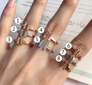 Joyería anillos de doble T anillo abierto S925 plata de alta joyería de las mujeres del tamaño del regalo del partido de Navidad: 6781