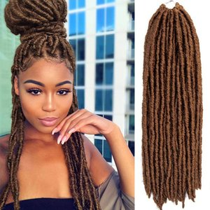 "Caldo! 1Packs 20 pollici Straight Faux Locs Dreadlocks Crochet Trecce Capelli Straight Goddess Locs Twist Intrecciare le estensioni dei capelli (20 ""30 #)"