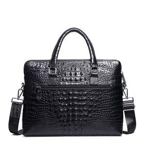 Shoulder Zipper Double Briefcases Formal Business Handbag Leather Briefcase Mens Messenger Bag Black Laptop Bags Brief Bwuef