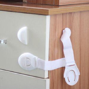 Wholesale Home Use Child Elastic Lock Protection Children Drawer Doors Locking Kids Safety Plastic White Refrigerator Door Locks DH0919