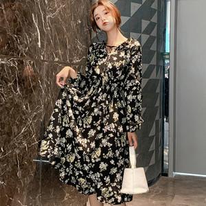 Nero stampa floreale abito in chiffon estate delle donne Nuova Versione coreana della lunghezza Mid-abito popolare retrò Super Fata Stampato