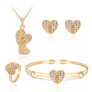 Femmes ensembles de bijoux coeurs amour collier Bracelet boucle d'oreille bague ensemble coeur forme pendentif alliage incrusté Zircon robe de mariée ensembles de bijoux