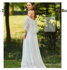 Wedding Dresses 2018 Off the Shoulder Lace Top Beach Wedding Dress