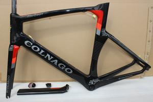 Tam karbon fiber yol çerçeve bisiklet komple bisiklet framese orta göbek BB386 yarış siyah kırmızı COLNAGO kavramı T1000 UD