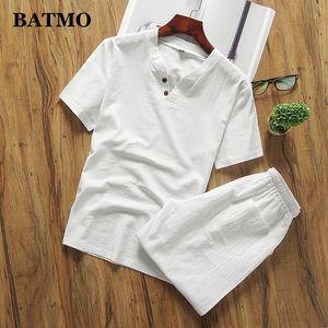 BATMO 2019 arrivée été haute qualité lin ensembles pour hommes, t-shirt + shorts pour hommes plus-taille qt5002