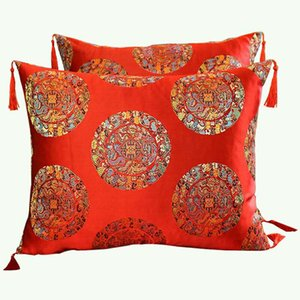 Vintage Tassel Jacquard Chinese Cushion Cover Luxury Decorative Pillow Covers Floral Classic Silk satin Cushion Pillow Case