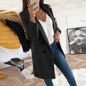 Duzeala Frauen Herbst-Winter-Wollmantel Langarm Mäntel lose Turn-Down-Kragen Aufmaß Blazer Outwear Jacke Elegante Y191129