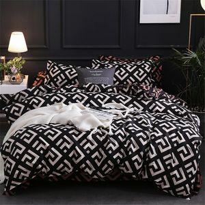 Moderne geometrischer California King Bettwäsche-Sets Schleifen Bettbezug-Set Kissen 51 * 90 Bettbezug 229 * 260 3pcs Bett Set T200108
