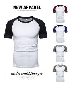 Fashion Mens Summer Tshirts Designer Panelled Color Short Sleeve Tees Crew Neck Natural Color Casual Tshirts