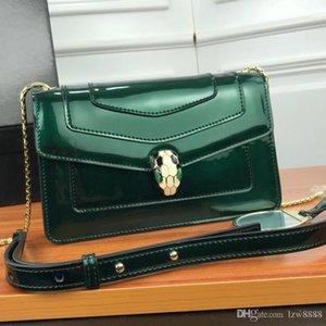 상자와 함께 새로운 여성 크로스 바디 뱀 녹색 공작석 눈 럭셔리 디자이너 가방 여성 크로스 바디 체인 가방 최고 품질의 크기 23-15-6cm