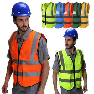Homens Mulheres Proteção Segurança Vest Zipper Reflexivo Jacket Colete de Segurança
