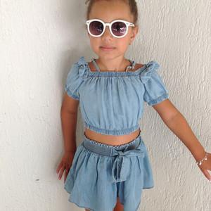 2-7Y Toddler Bambini Baby Girl Denim Clothes Off tracolla Tank Top Pantaloncini Pant 2PCS Outfits Summer Girls Clothing Set