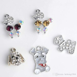 Alloy Pendant Diamond Charms Heart Cute Dog Shape Diy Tag Collar Necklace Hair Accessories Portable Creative Mix Color 0 85rm ff
