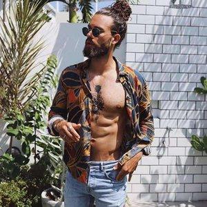 Мужские повседневные рубашки Feitong Печать этнических стилей Мужская рубашка 2021 с длинным рукавом отворота Свободные винтажные блузки женские пляжные гавайские плюс размер
