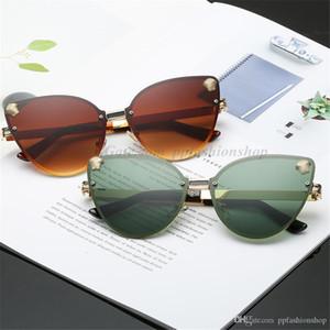 Fashion rahmenlos Katzenauge-Marken-Sonnenbrille Damen Metall UV400 888 Sonnenbrille hot Designer Kopf Sonnenbrille 4 FARBEN