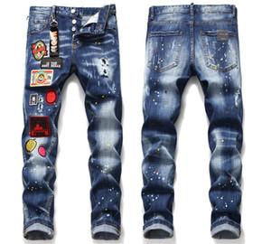 NUEVO 2020 Mens del diseñador insignia Slim Fit Jeans Moda flacas pantalones lavados Moto Denim Hip Hop con paneles motorista Pantalones