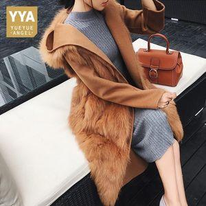 Qualitäts-Luxus-Frauen-Pelz-Mantel Echtpelzbesatz Mantel Fashion Solid Belted mit Kapuze Oberbekleidung Weiblich Slim Fit Lange Overcoat