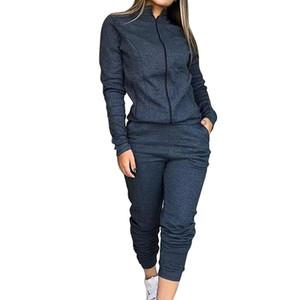 Nuovo 2pcs Set Felpe con cappuccio allentato Tops Felpa pantaloni lunghi Solid 2 collega gli insiemi di Abbigliamento Donna Completi donna Tuta