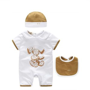bébé nouveau-né unisexes de mode d'été garçon vêtements fille chapeau nouveau-né bébé Romper Bibs fixe 3M 6M 9M bébé vêtements pour bébé garçon