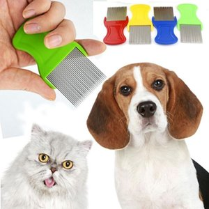 Pet Chien Chat Cheveux Cheveux Poux Nit Peigne Pet Sûr Des Oeufs Aux Puces Dirt Dust Remover Animaux Brosses En Acier Inoxydable
